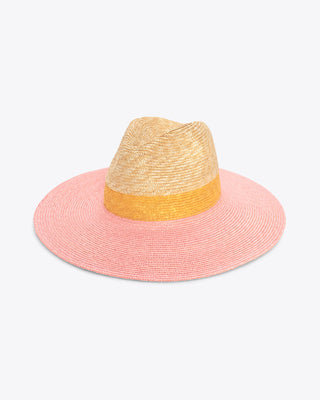 straw hat in natural, yellow with pink brim