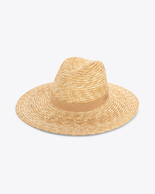 light tan straw hat with a tan band