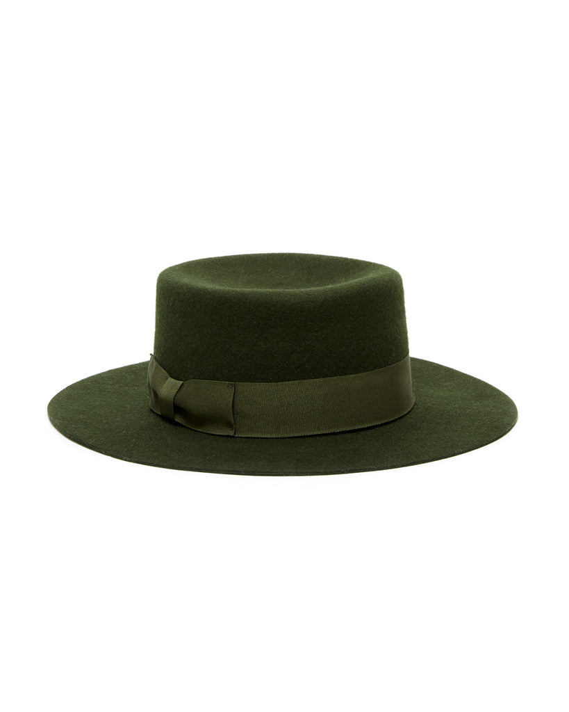 Wool bolero hat in forest green.