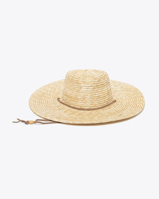 straw panama hat with a tan suede strap