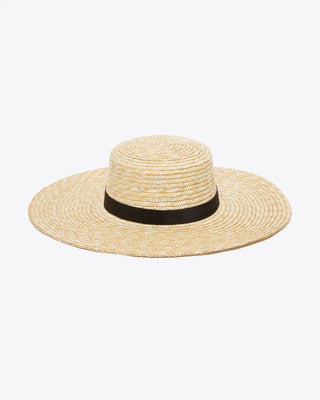 straw hat with a wide brim