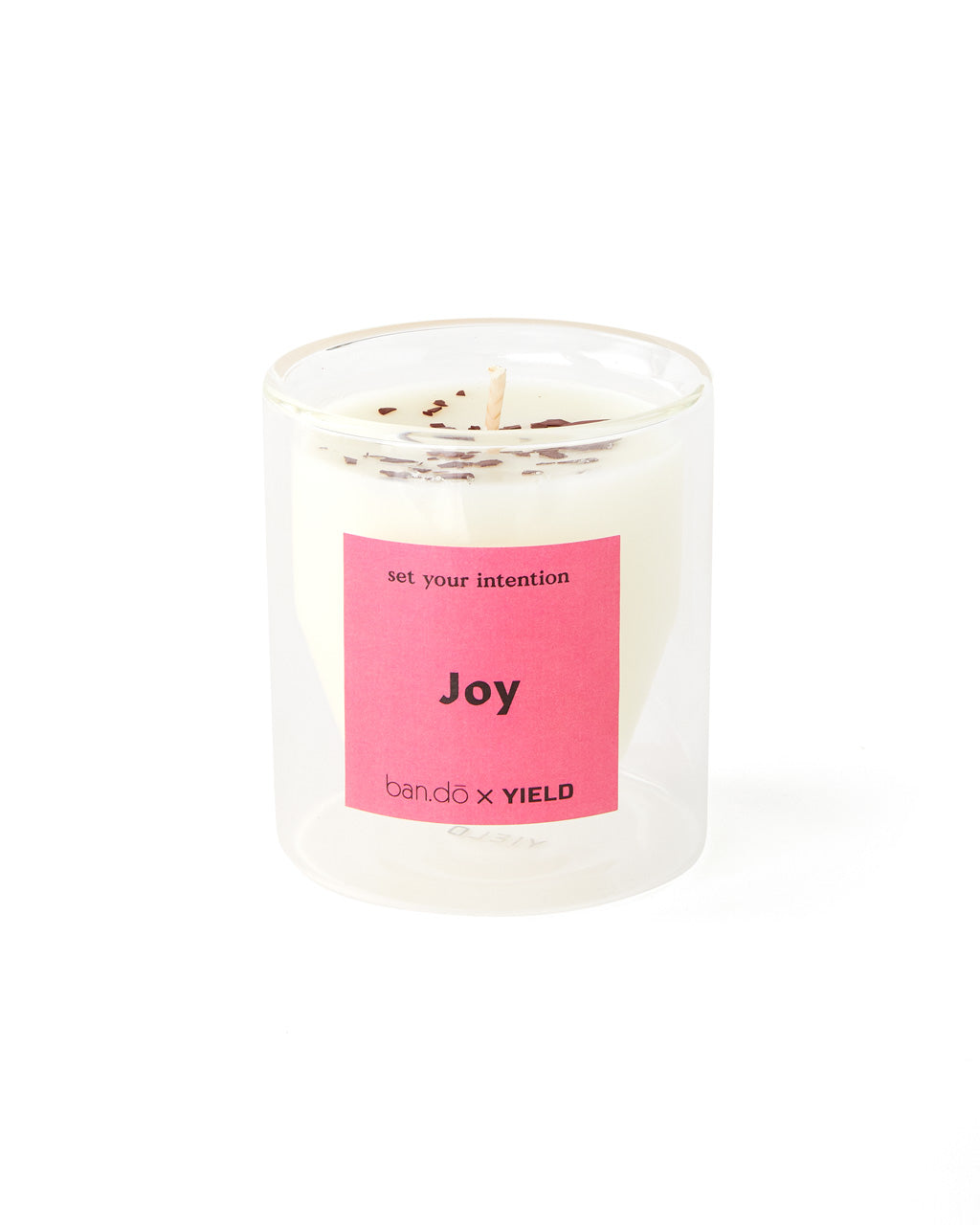 Soy candle with colored soy wax chips.