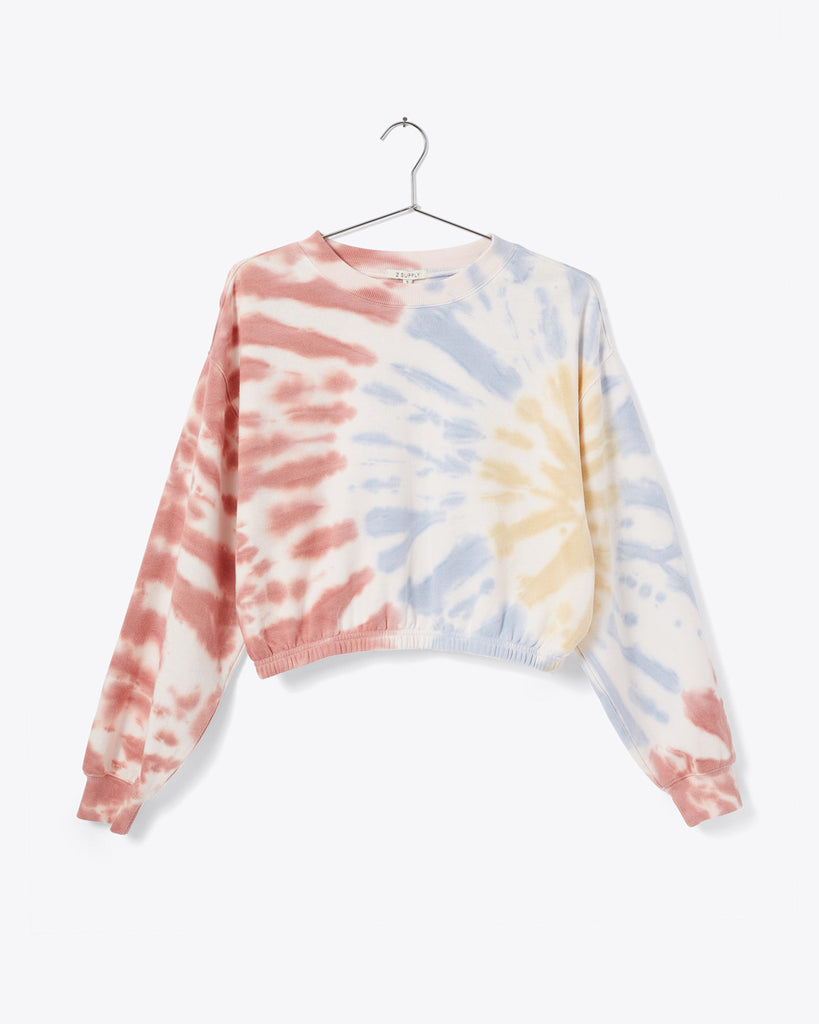 white sweatshirt with pale red, blue, yellow tie dye shown on hanger