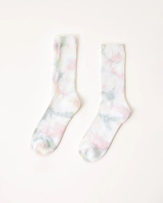 white ribbed socks with multicolor tie dye