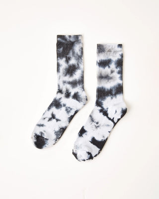 black ribbed socks with white tie dye