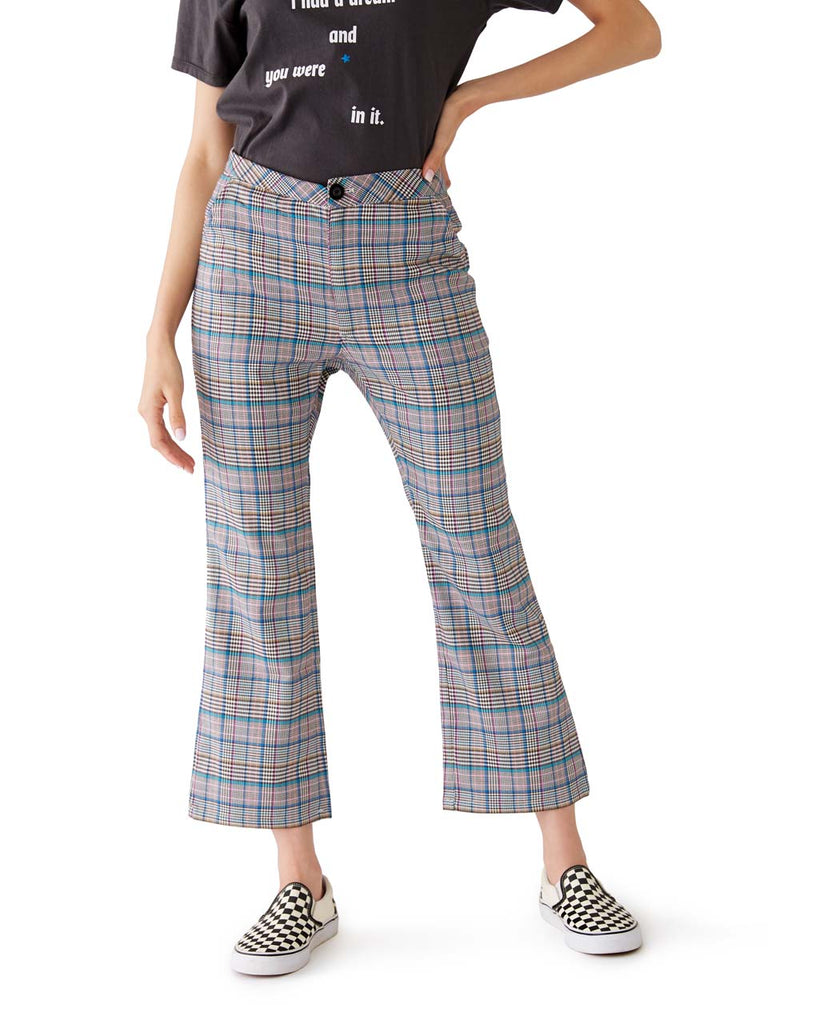 check kick flare pants