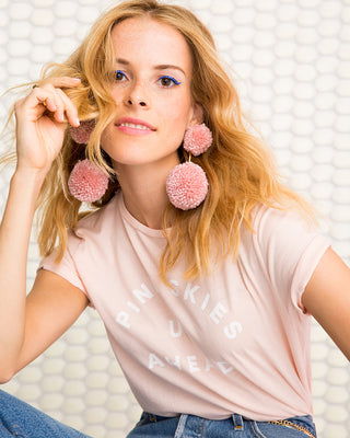 double pom pom earrings - pink
