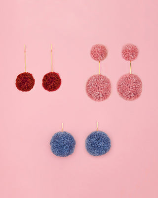 pom pom earrings - denim