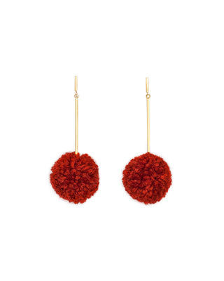 pom pom earrings - rust