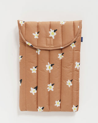 16-inch puffy laptop sleeve in light brown with white daisy pattern