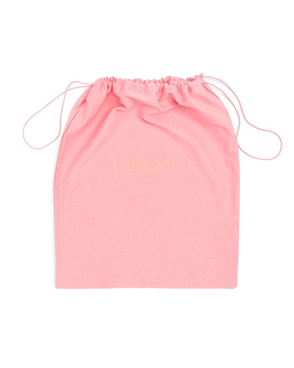 Pink bando branded duster bag.