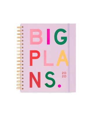 This Large 12-Month Annual Planner comes with a pink matte-laminated hard cover with 'Big Plans' printed on the front.