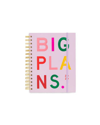 This Medium 12-Month Annual Planner comes in a pink matte-laminated hard cover with 'Big Plans' printed on the front.