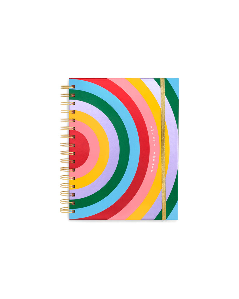 This Medium 12-Month Annual Planner comes in a matte-laminated, rainbow-colored hard cover.