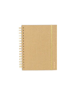 This Medium 12-Month Annual Planner comes in a matte-laminated, glittery-gold hard cover.