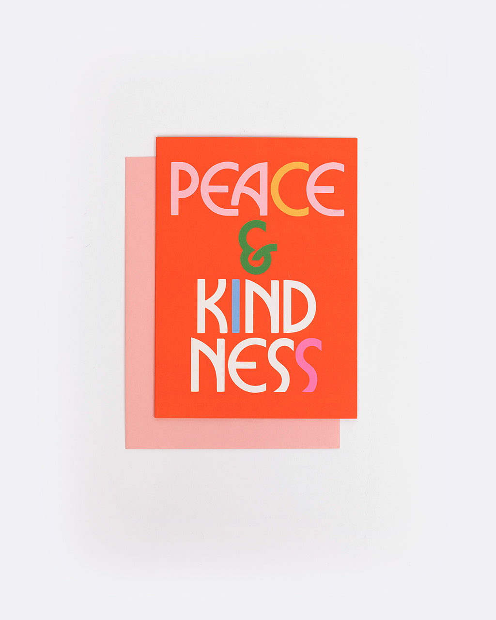 red card with the words peace and kindness
