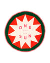 "Bright round towel with the quote ""one with the sun""."