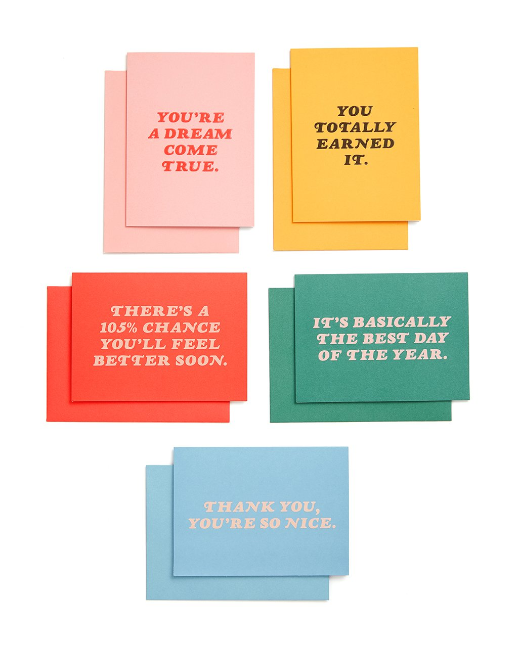 These colorful greeting cards feature a number of different styles.
