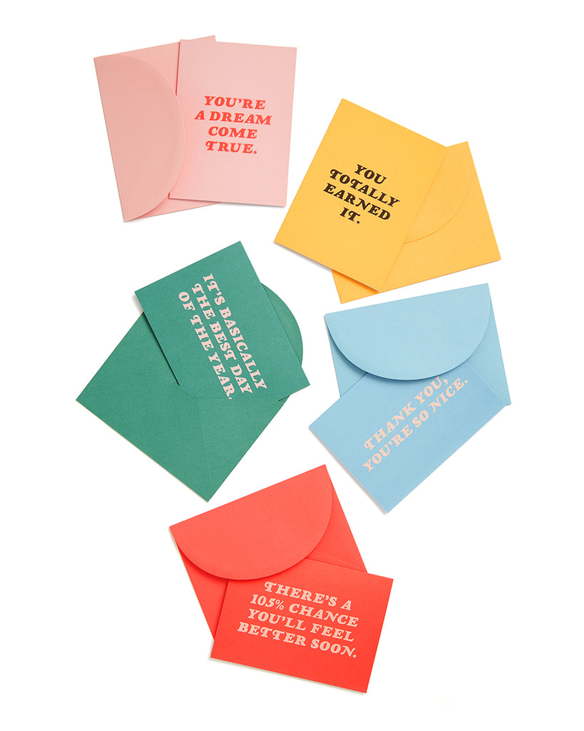 Each greeting card includes a matching envelope.