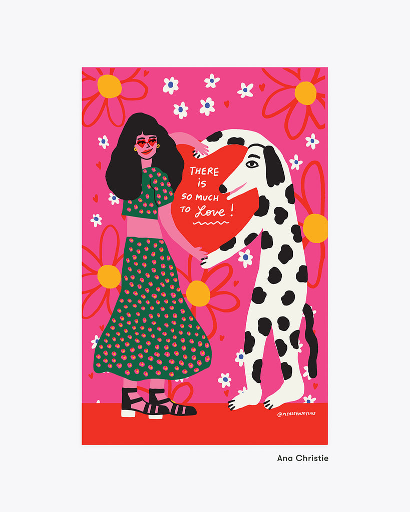 bright art print with a girl and a dog