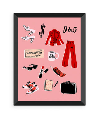 serious business woman art print - black frame