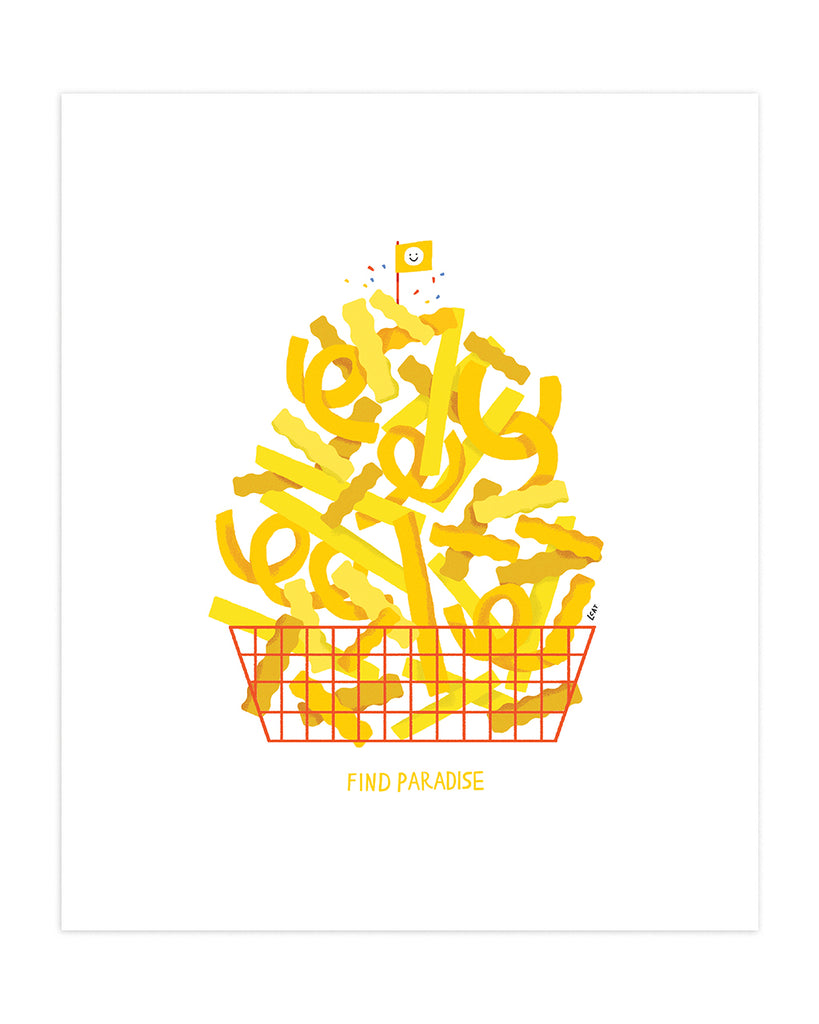 "Art print of yellow french fries in an orange wire basket with the words ""find paradise"" printed beneath."