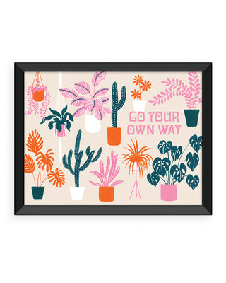 go your own way art print - black frame