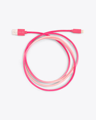 hot pink tie-dye charging cord