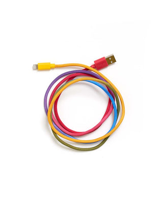 Rainbow colored phone charging cord.