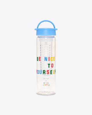 clear glass infuser water bottle with the words be nice to yourself