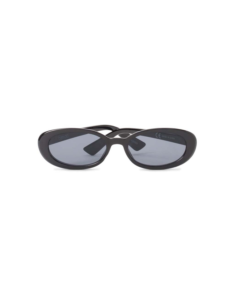 oval sunglasses with black frame and black lenses