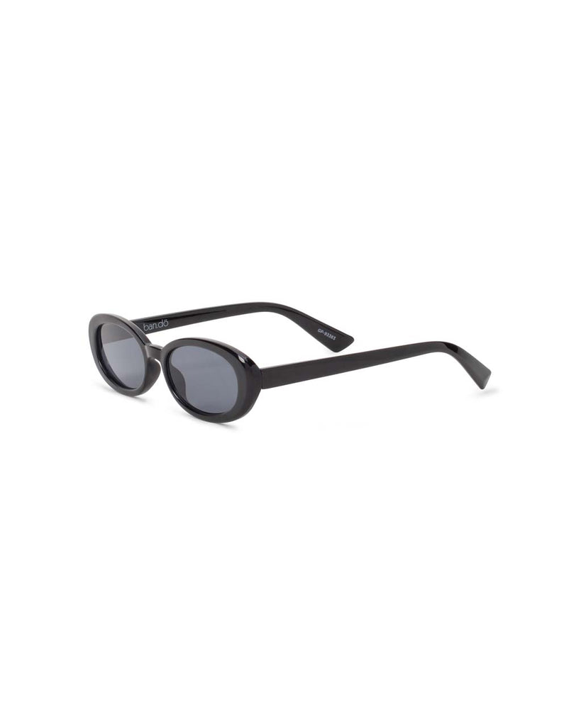 side view of oval sunglasses with black frame