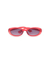 oval sunglasses with red plastic frame and gray lenses