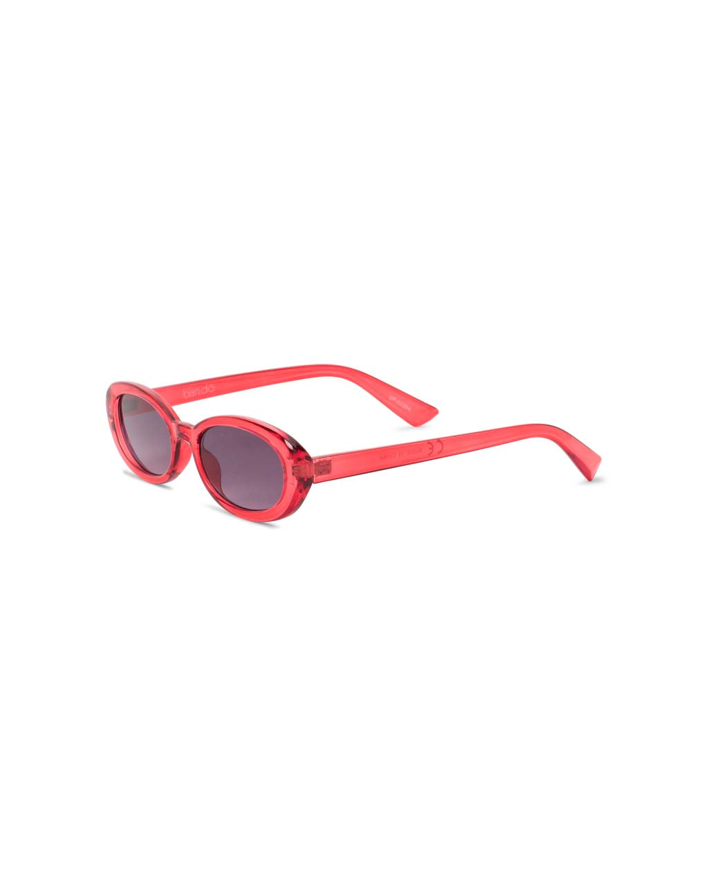side view of red frame sunglasses