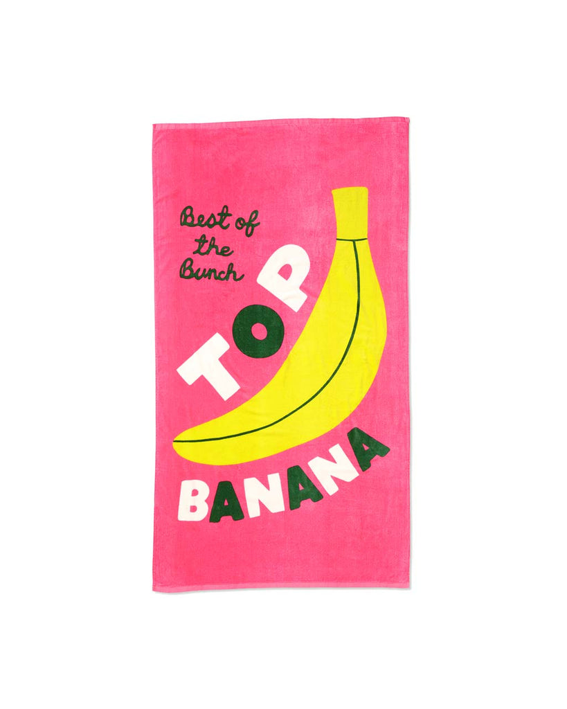 This huge beach towel comes in bubblegum pink with 'Top Banana' written in green and white across the front.