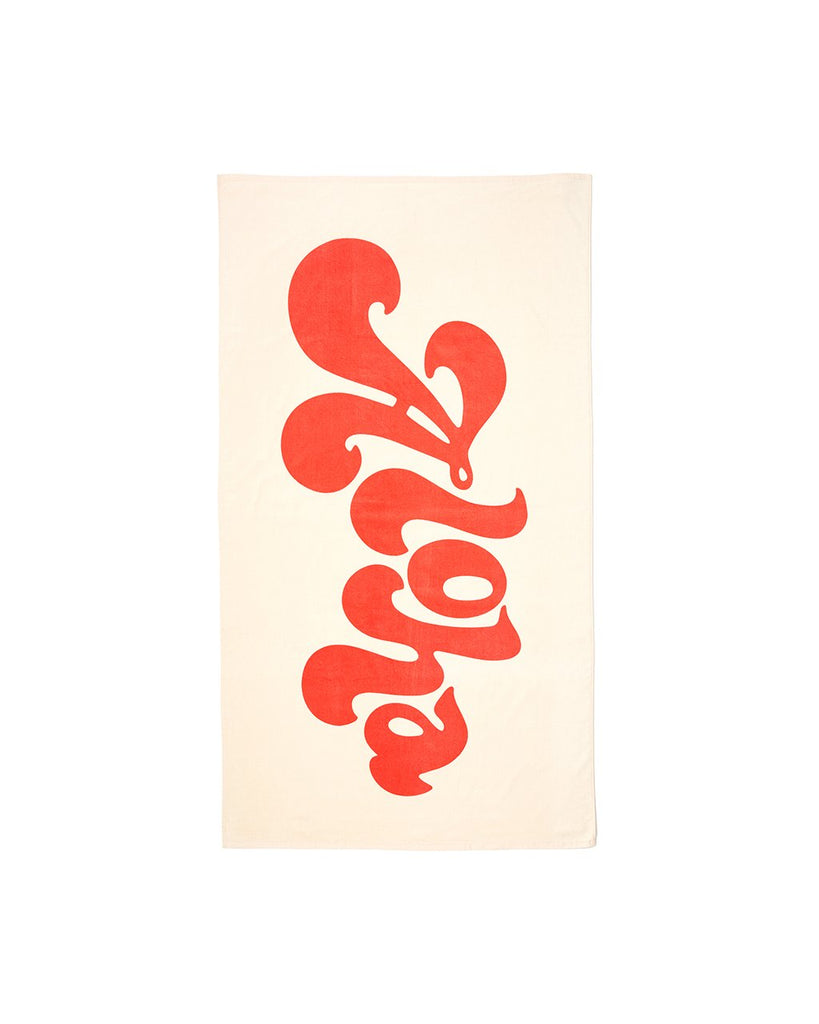 This huge beach towel comes in off-white with 'Aloha' written in bright orange across the front.