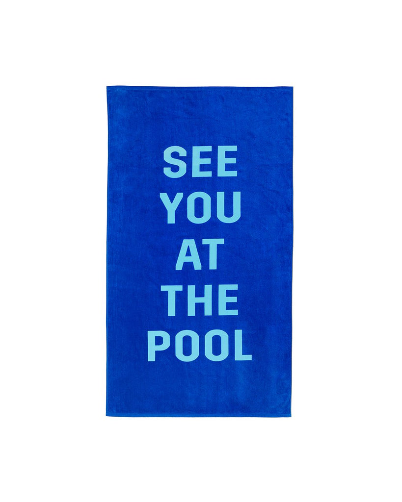 This huge beach towel comes in royal blue with 'See You At The Pool' written in sky blue across the front.
