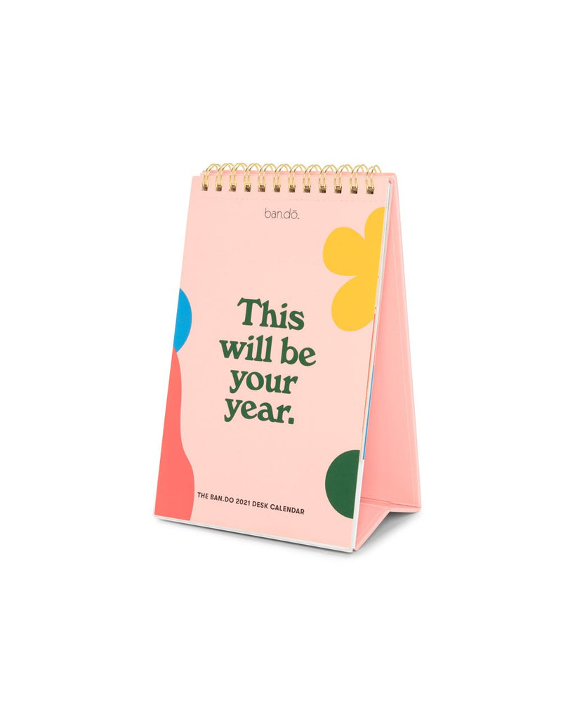 2021 desk calendar with a light pink cover