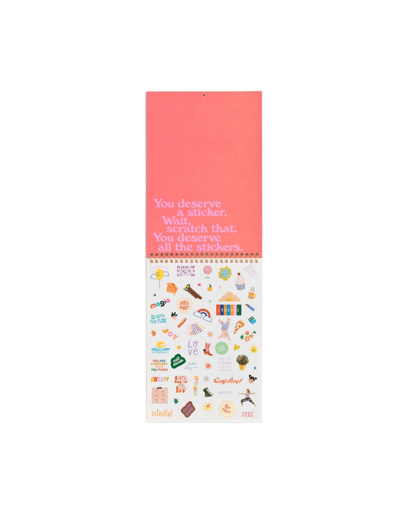 interior image of sticker sheet included with the wall calendar