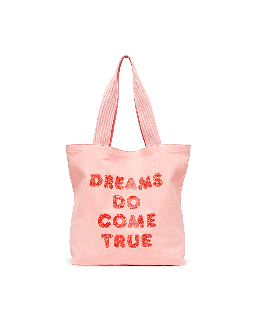 This lightweight canvas tote comes in pink, with 'Dreams Do Come True' printed in red on the front.