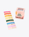 big sticker roll with various colored stickers packaged in light pink box