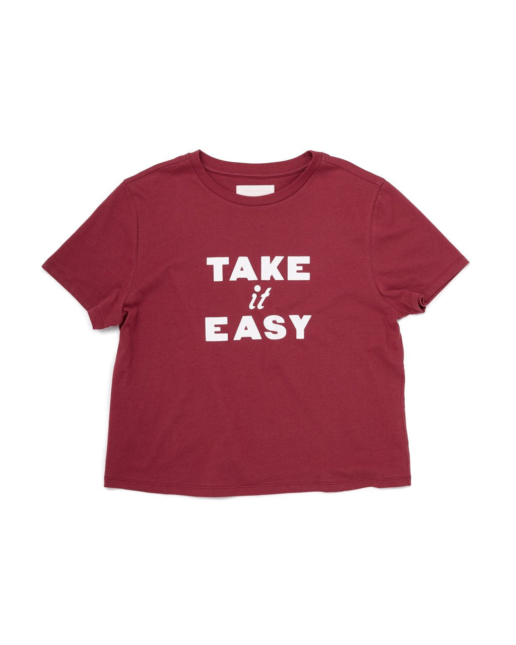 Dark red boxy tee with white lettering Take It Easy.