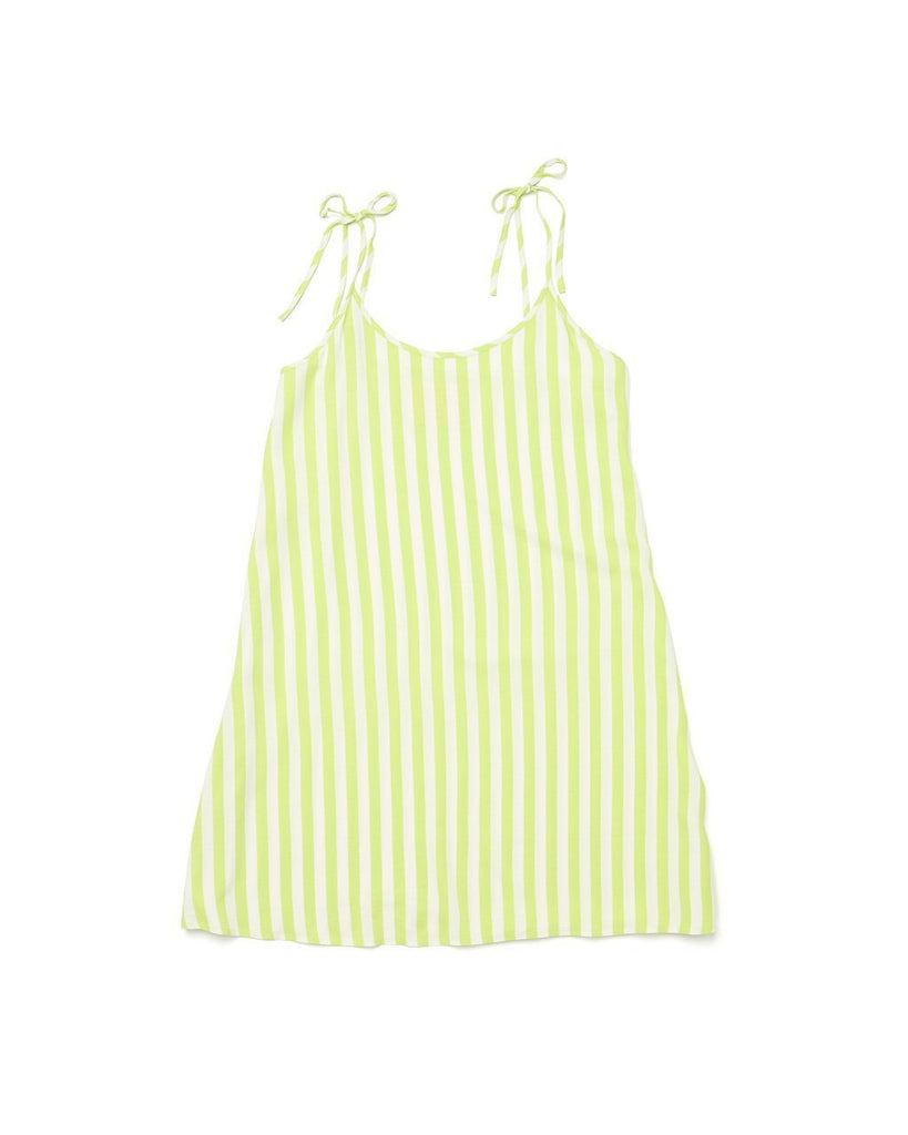 our breezy tank dress featured in lime green stripe