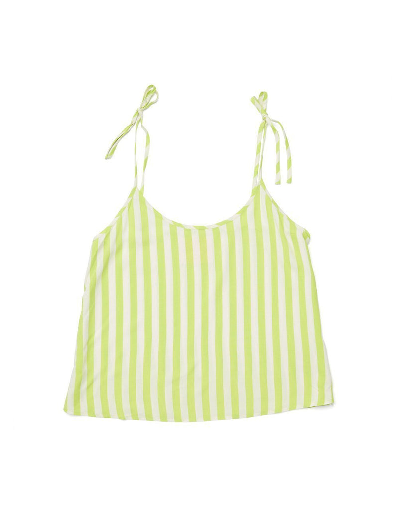 lime green stripe breezy tank with adjustable tie straps