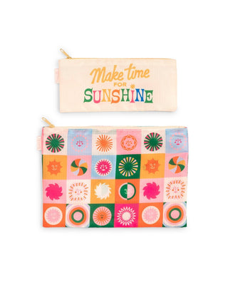 "This duo comes with one large icon pattern pouch and one small cream pouch with the words ""make time for sunshine"""