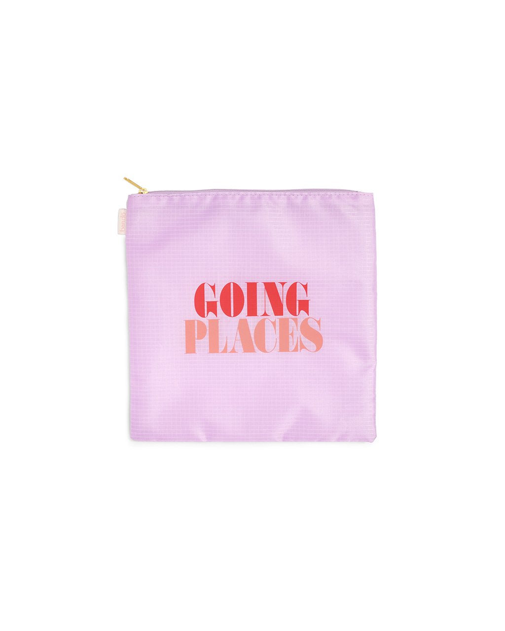 smaller purple  pouch of duo set with the words going places