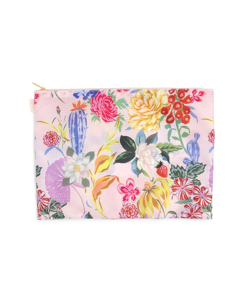 large pouch with floral pattern all over