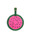 The Getaway Luggage Tag comes in a pink and green watermelon design.