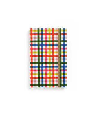 This Classic 17-Month Annual Planner comes with a rainbow plaid matte-laminated hard cover.