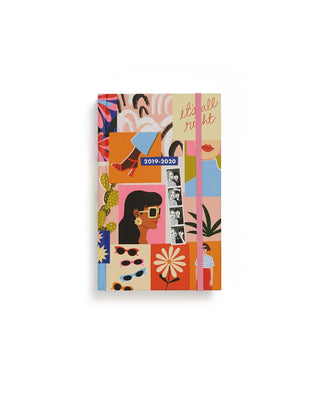 This Classic 17-Month Annual Planner comes with a colorful abstract mood-board-style, matte-laminated hard cover, designed by Bijou Karman.
